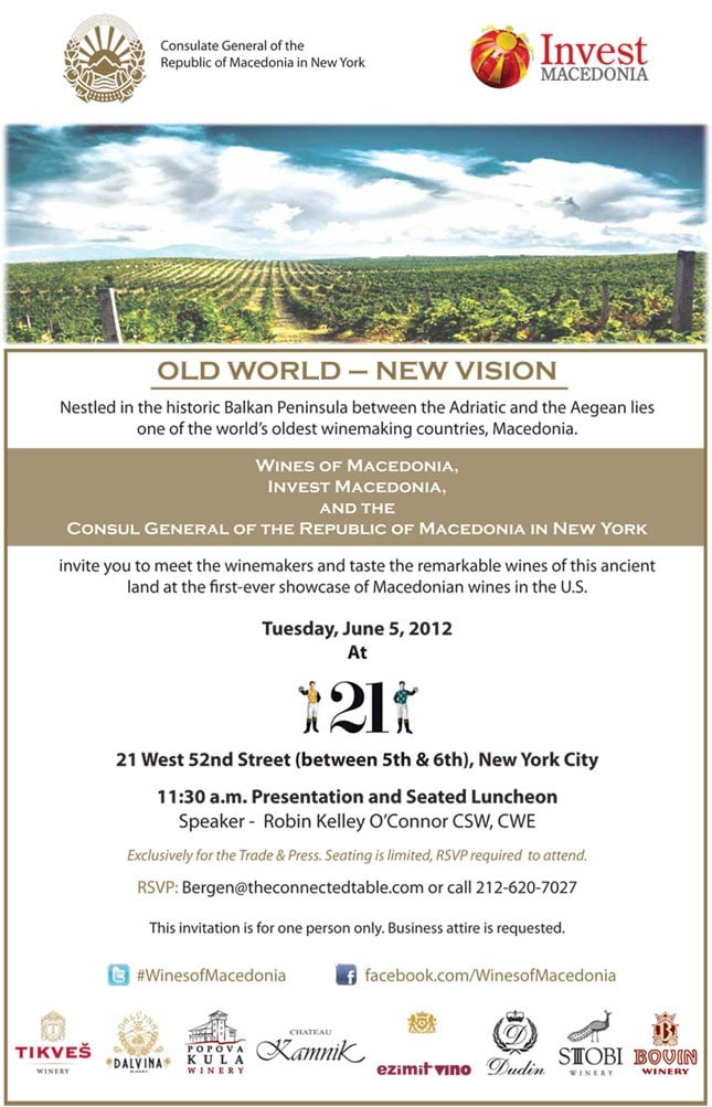 Wines of Macedonia Luncheon at Club 21, NYC