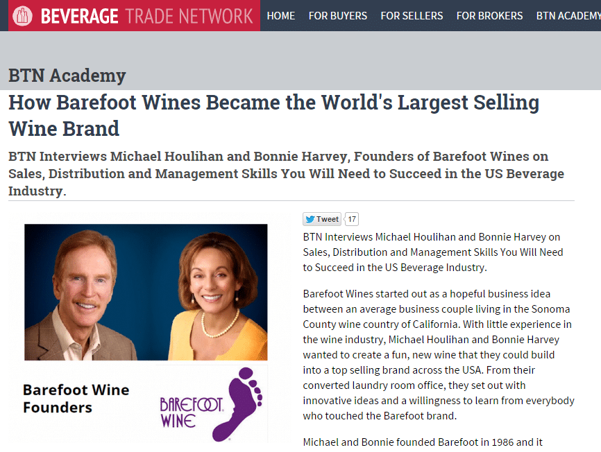 Beverage Trade Network – How Barefoot Wines Became the World's Largest Selling Wine Brand